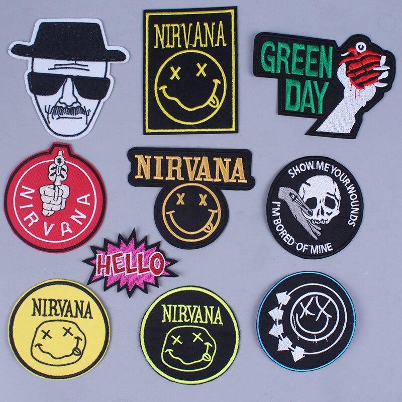 Diy remendos nirvana para vestuário remendo do punk nirvana bordado remendo banda adesivo atacado listras de rock em remendos por atacado