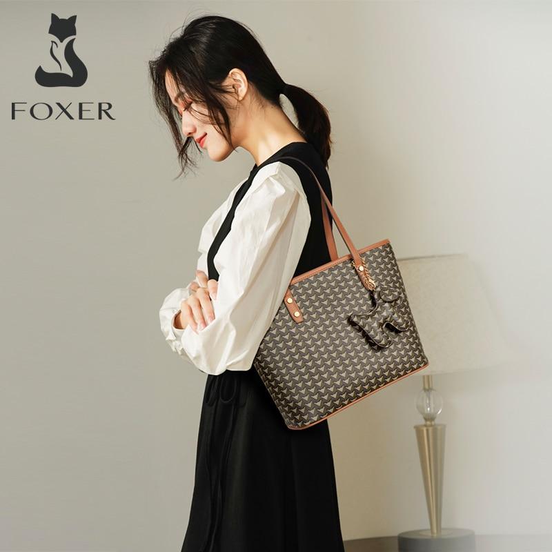 FOXER العلامة التجارية شعار حقيبة النساء PVC جلدية كبيرة حمل تخفيف سيدة كبيرة قدرة الكتف محفظة الأم يد ضوء التسوق حقيبة