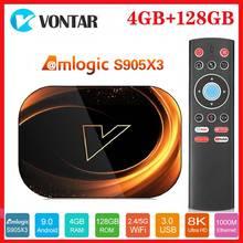 Vontar 8K Amlogic S905X3 Smart TV Box Android 9.0 Max 4 go RAM 128 go ROM 1000M double Wifi Netflix Youtube lecteur multimédia