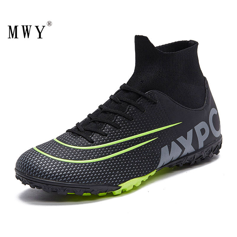 fires men s turf soccer shoes indoor plus size 45 cleats kids original superfly futsal football shoes sneakers chaussure de foot MWY Men High Ankle Football Boots Soccer Cleats Turf Shoes Kids Soccer Shoes Indoor Futsal Sneakers Chaussure Football Enfant