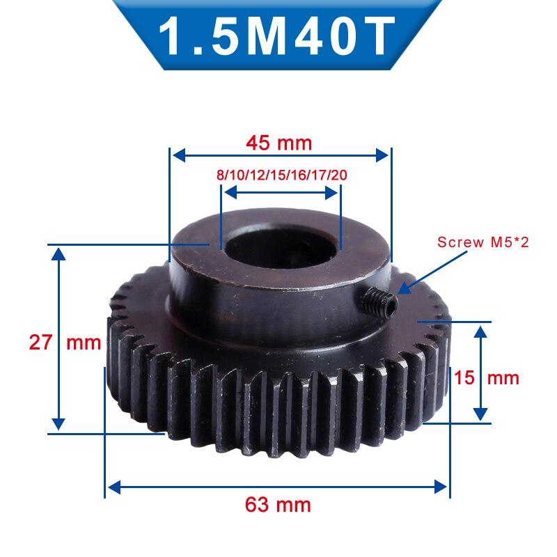 1 peça 1.5m40t roda de engrenagem do pinhão do furo 8/10/12/15/16/17/20mm baixo material de aço carbono roda de engrenagem de alta qualidade para o motor