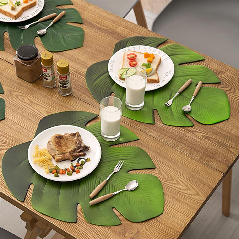 Hoja de palma mantel verde Artificial planta aislamiento antideslizante vajilla casa occidental Anti-caliente Placa de mesa de cocina decoración para manteles