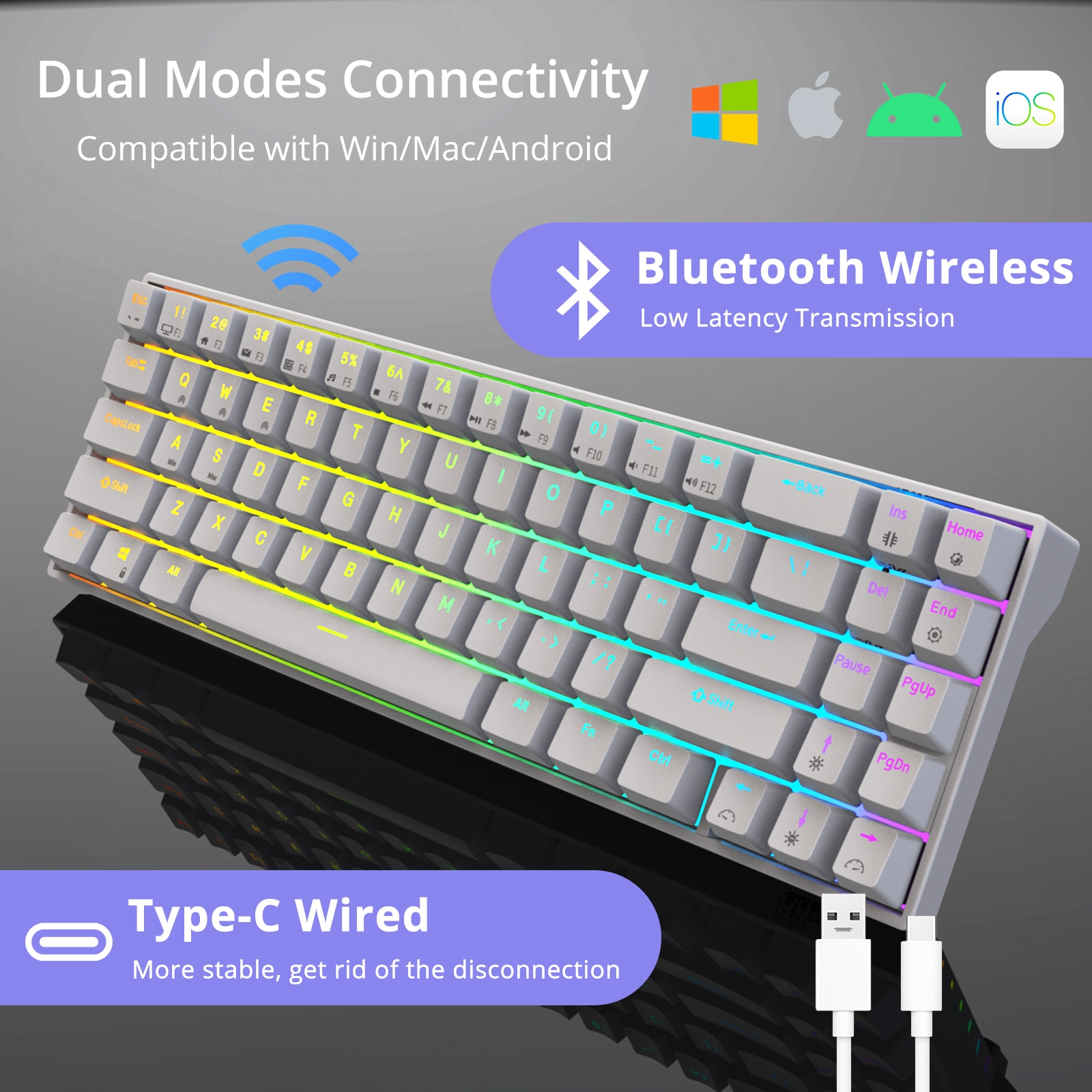 RK71 RGB 70%  Hot swappable Mechanical Keyboard, 71 Keys Bluetooth Small Portable Gaming Office Keyboard for Windows and Mac