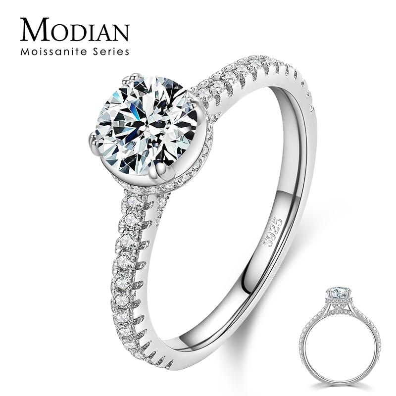موديان 925 فضة 1ct لامعة مويسانيتي خواتم الاصبع الكلاسيكية للنساء الزفاف المشاركة بيان مجوهرات الجميلة هدايا