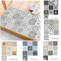 Revetement autocollant gris mat  10 pieces  motif retro  revetement de sol resistant a lusure  pour cuisine  salle de bain  Tables