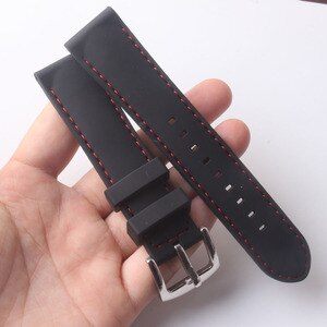Silicone Watchband 20mm Band Watch Accessories Strap Rubber Bracelet Belt Waterproof High Quality watchband black with red line