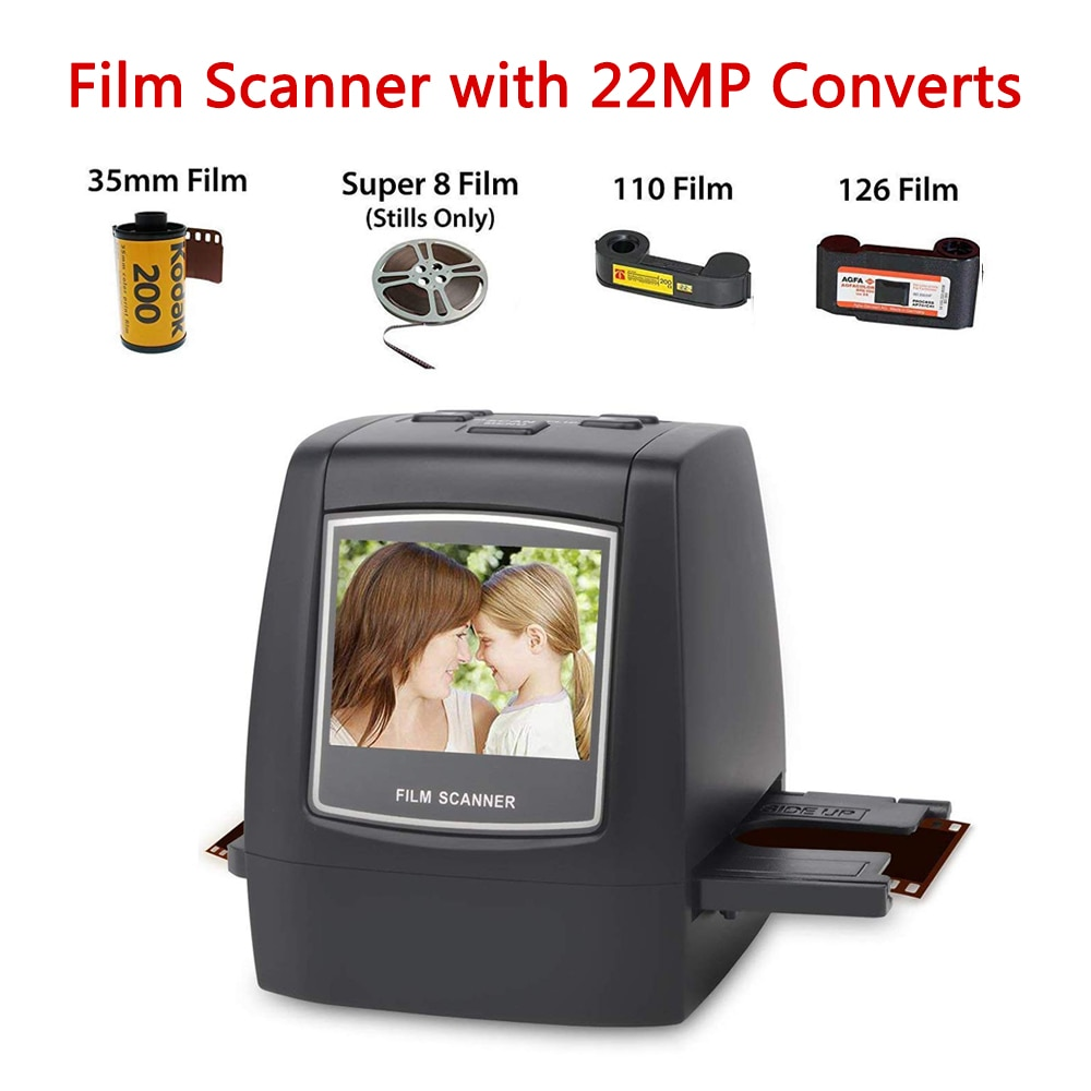 ماسح ضوئي للأفلام مع محول 22MP 126KPK/135/110/Super 8 أفلام ينزلق كل في واحد إلى صور رقمية ، شاشة LCD مقاس 2.4 بوصة