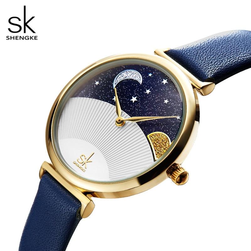 Relojes creativos de Shengke para mujer, reloj de pulsera de cuero de cuarzo azul para mujer, reloj resistente al agua, reloj de cuarzo de lujo 2019SK para regalo de mujer
