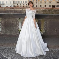 thinyfull off the shoulder boho wedding dresses with sleeves princess beach a line satin mariage gowns robe de mari%c3%a9e