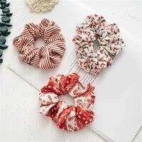 christmas scrunchies hair ornaments flannel hair rope headdress women girls headwear ponytail holder elastic headband xmas gift
