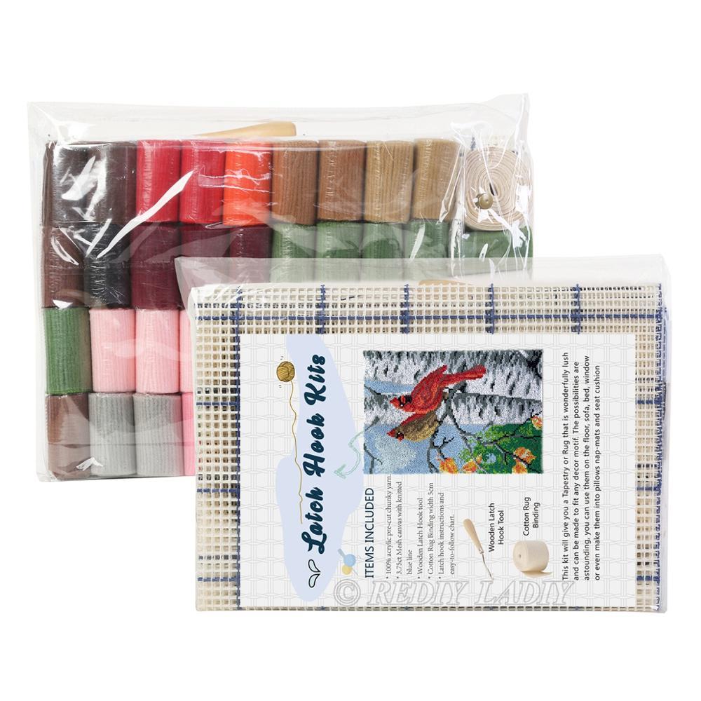 Latch Hook Rug Red Bus London Chunky Yarn Tapestry Kits Crocheting Cushion Mat DIY Carpet Rug Needlework Hobby & Crafts 58*85cm