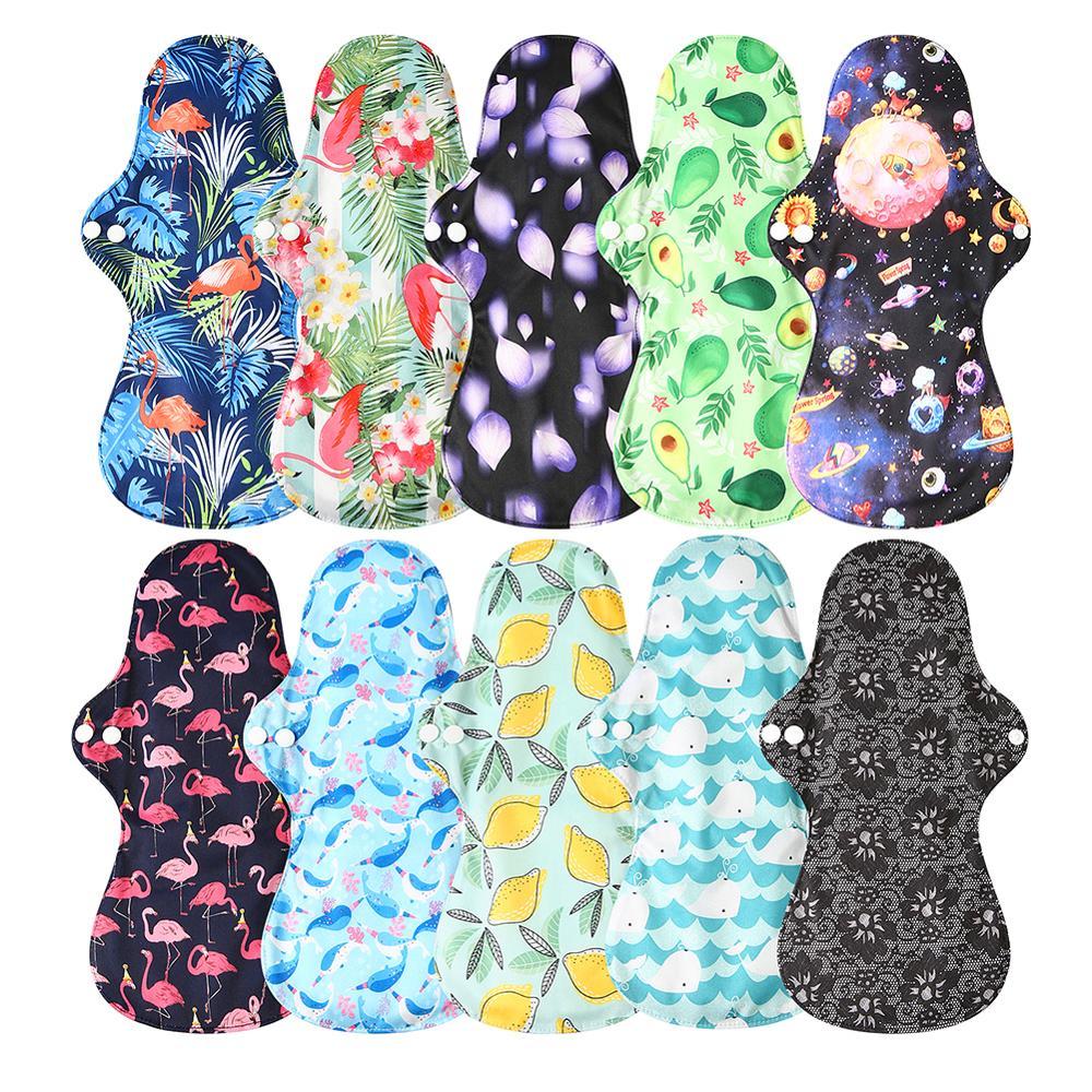 Toalla Menstrual lavable de flamenco para uso nocturno, compresas sanitarias de bambú de flujo pesado, compresas sanitarias transpirables reutilizables para mujer