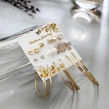 9 Pairs/Set Fashion Stud Earrings Gold Big Circle Hoop Earring Set 2019 Female  Brincos Jewelry Gifts