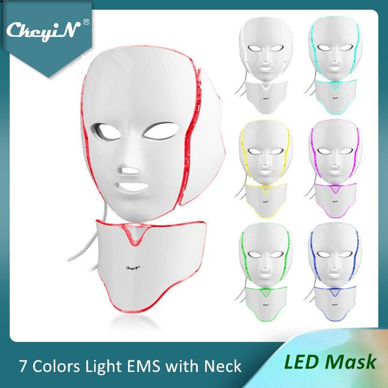 قناع الوجه CkeyiN 7 ألوان LED ، للفوتون ، تجديد الجلد ، العلاج ، مكافحة الشيخوخة ، التبييض ، إزالة التجاعيد ، العناية بالبشرة 48
