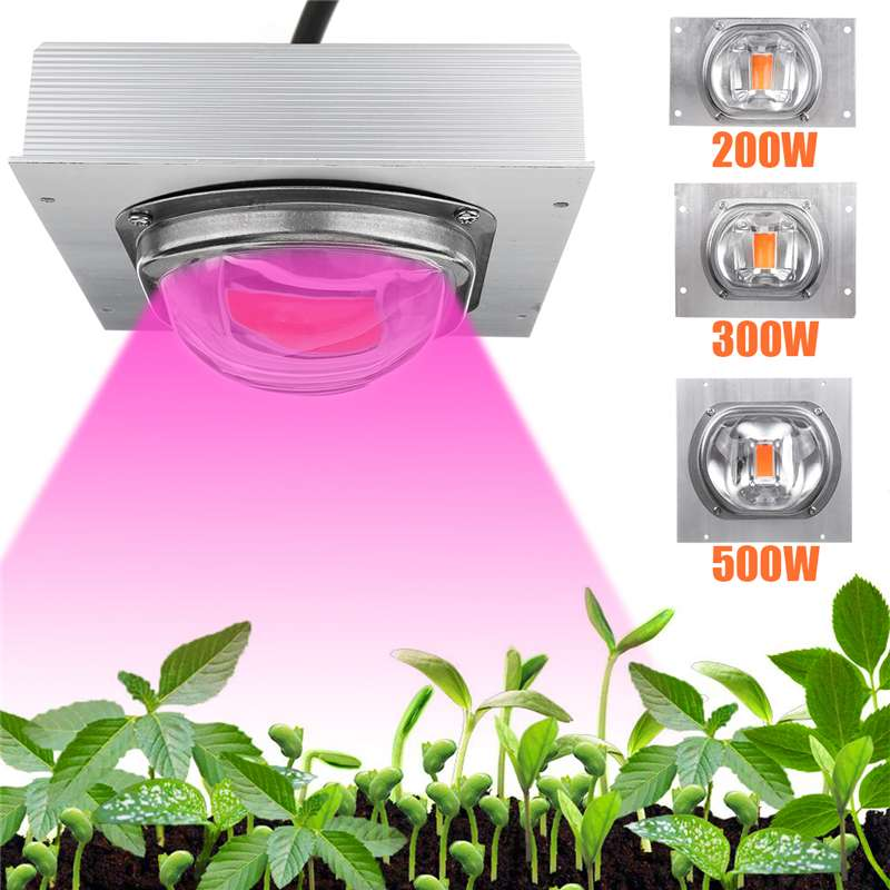 Alto PAR COB LED LUZ DE CRECIMIENTO espectro completo 200/300/500W LED planta de cultivo lámpara con lente de vidrio para planta hidropónica de invernadero