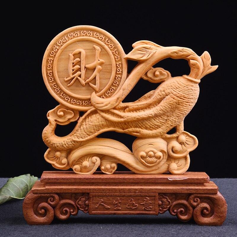20CM Ginseng escultura de longevidad tallada en madera de doble cara tallada decoración hogareña artes y artesanías estatua Renshen