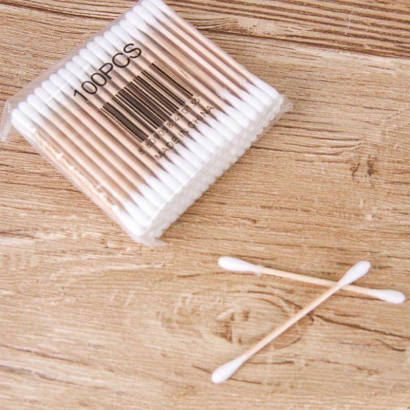 500pcs/ Pack Double Head Cotton Swab Women Makeup Bamboo Cotton Buds Eyeshaow Blending Tool For Nose