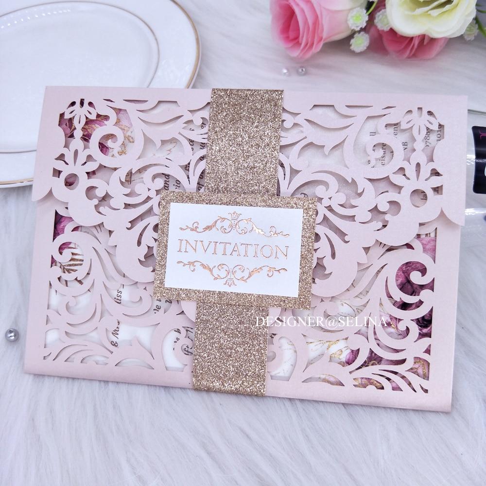 Invitation de mariage découpée au Laser rose clair, avec ceinture et étiquette à paillettes, Invitations Quinceanera en dentelle de plus de 20 couleurs bricolage Weddi