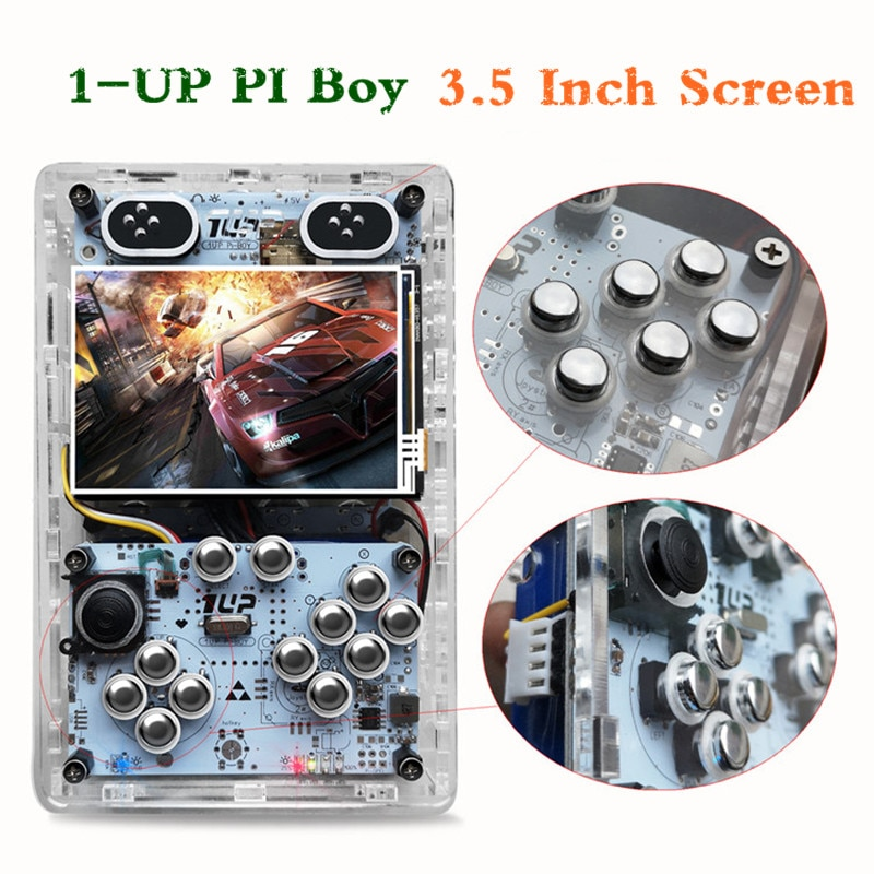 3.5-inch Retro Game Console 1 Up Pi Boy Raspberry Pi 3B Mini Handheld Video Game Consoles 10000+ Games Support HD/Multiplayers