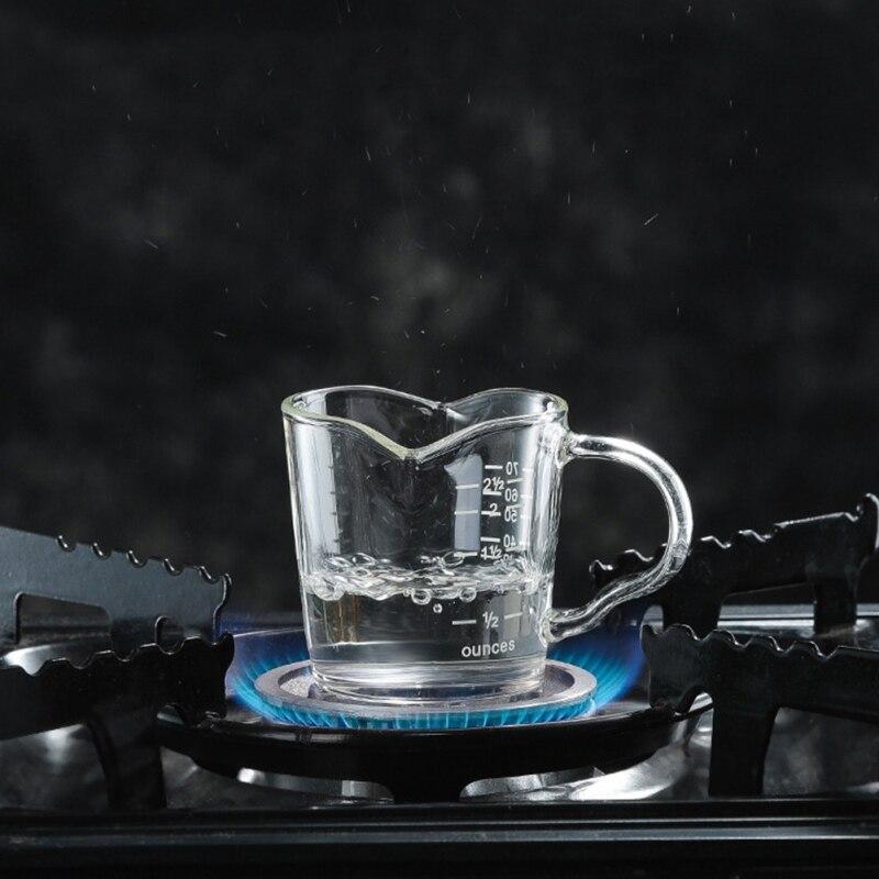 Jarra medidora de vidrio resistente al calor de 70ML para café Espresso, taza de onzas de doble boca, pequeña taza de leche con taza de café a escala