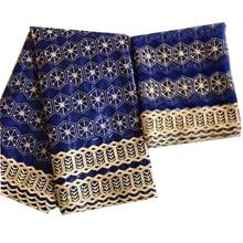 Baumwolle stoff bazin riche royal blau bazin brode 2020 neue ankunft bazin riche mit tüll schal set für hochzeit kleid