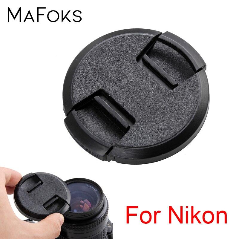 Tapa de lente de 49, 52, 55, 58, 62, 67, 72, 77, 82mm, pellizco central, tapa a presión para lente Nikon