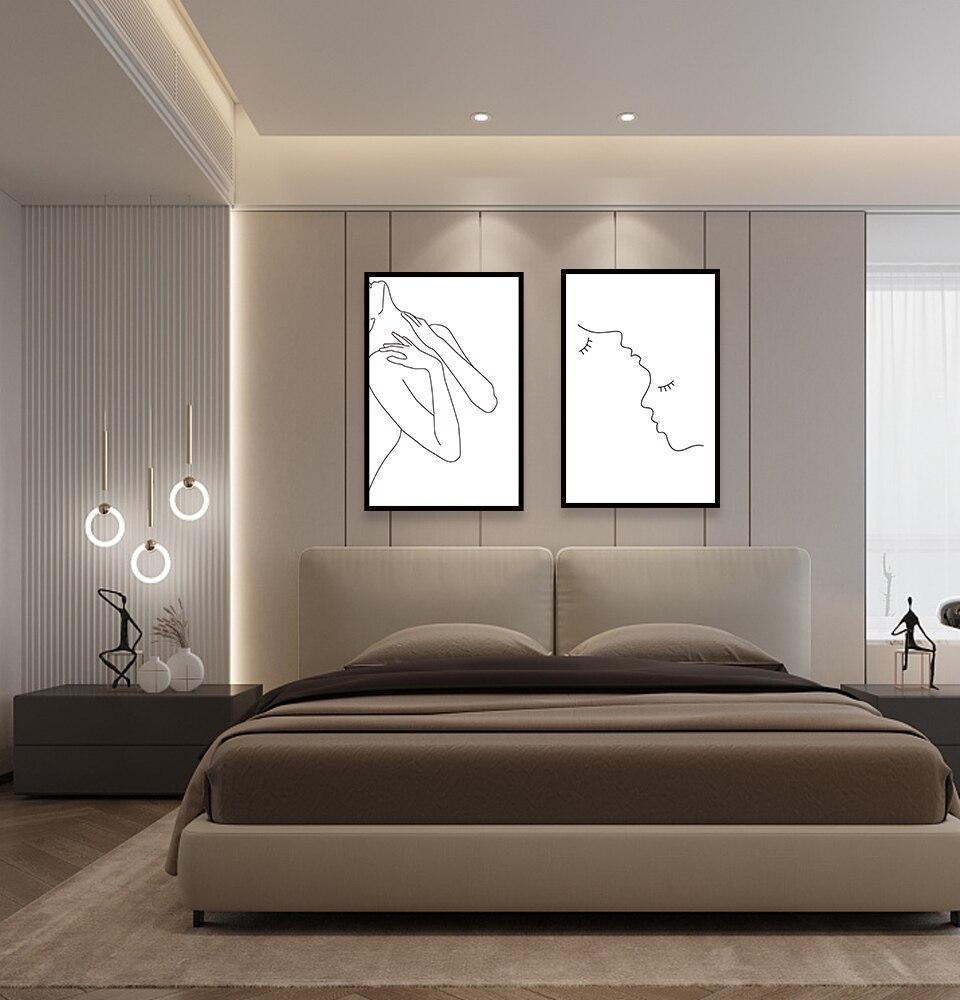 Peinture sur toile murale Art Mural   Tableau de filles, décor de chambre à coucher, affiche nordique et dessin de ligne dimpression, femmes modernes et Sexy