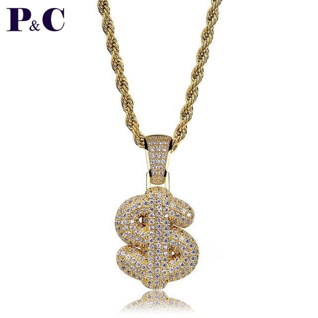 Colgantes de señales y collares personalizados de dólar de burbuja, amuleto de circón cúbico para hombres y mujeres, joyería de Hip Hop con hielo