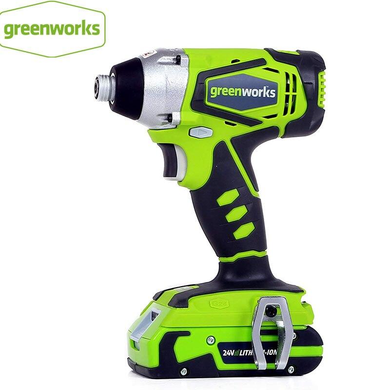 Greenworks 24 فولت الكهربائية تأثير مفك فرش مفك البراغي اللاسلكي تأثير الحفر 300N.m متغير السرعة قابلة للشحن الحفر