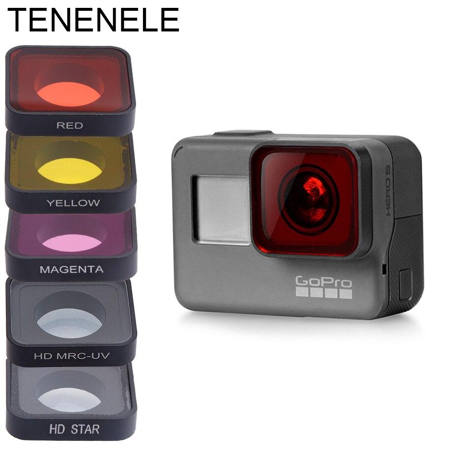 Hero5/hero6 polarizar uv nd 4 8 16 filtros de câmera para gopro hero 5/5 preto/6/2018 vermelho amarelo magenta acessórios de filtro de mergulho