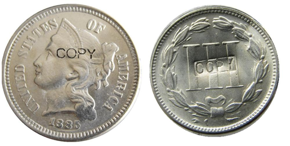 ONS 1885 Drie Cent Nikkel Kopie Munten