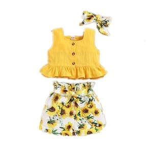 Baby kids girls Solid suspender Vests + sunflower shorts clothing sets baby girls sleeveless shirts casual clothing sets 7193 13