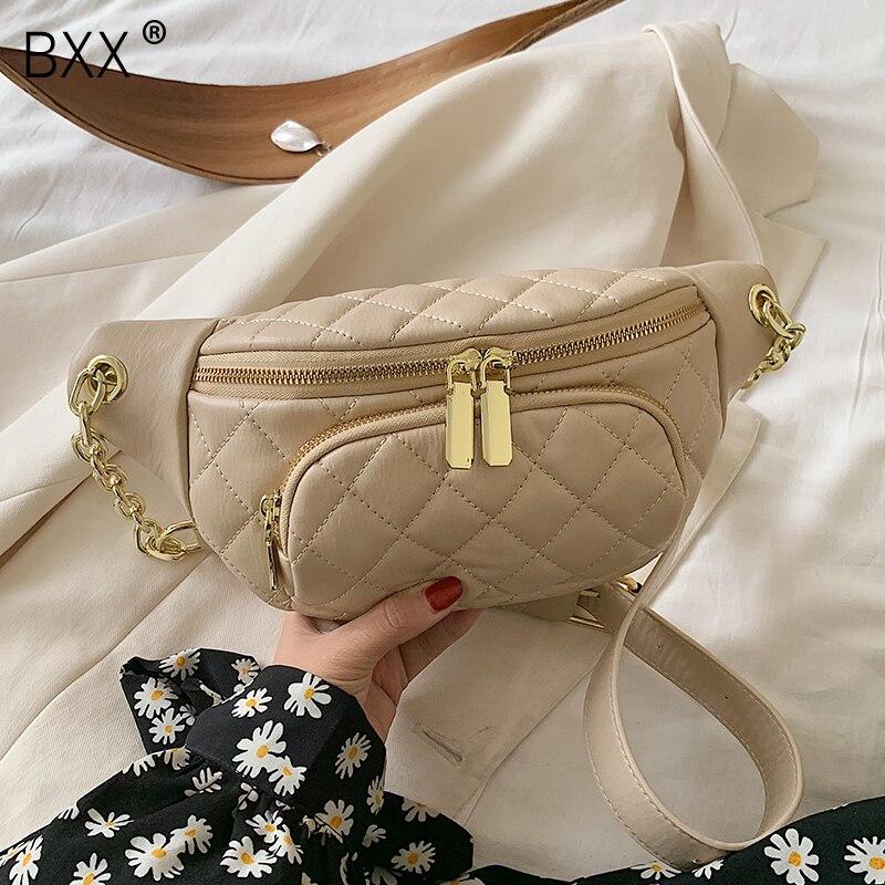 [BXX] PU Leather Crossbody Bags For Women 2021 Autumn Female Travel Cross Body Bag Lady Fashion Chain Chest Waist Bag HO079
