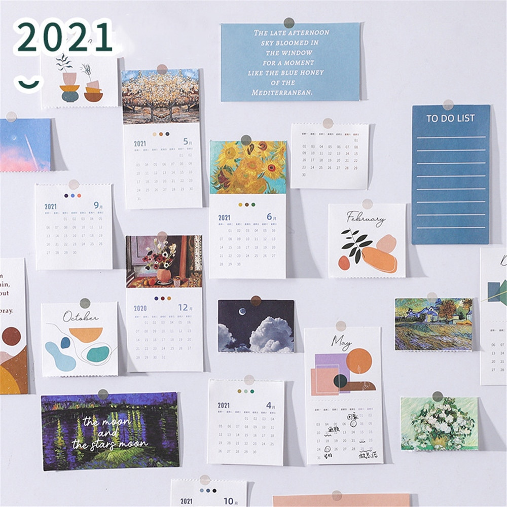 20 Sheets Mini 2021 Calendar Lomo Cards 365 Days Planner To Do List Notepad DIY Scrapbooking Papr Cards Bookmark Stationery