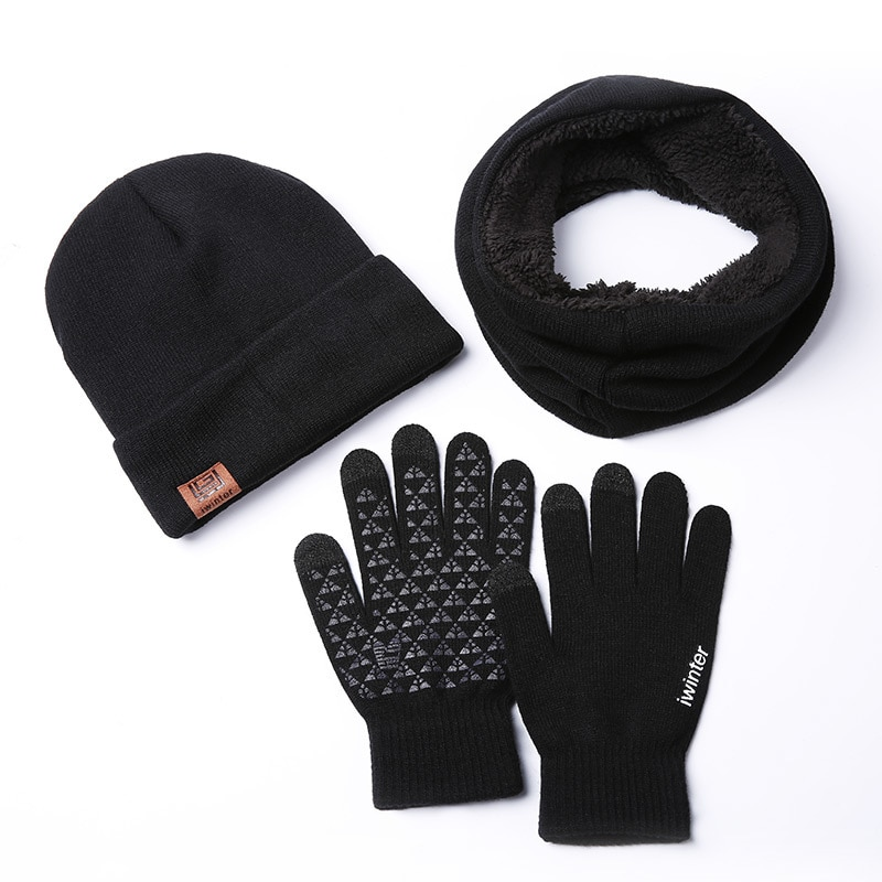 set, scarves, hats, gloves, winter plush, fashion, warmth, three-piece knitted men and women touch s