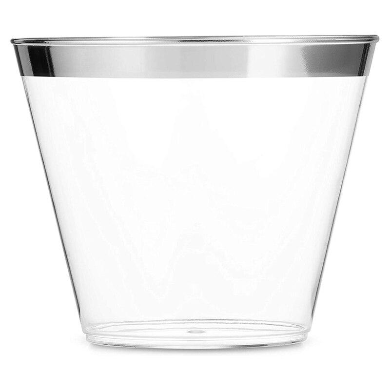 أكواب بلاستيكية فضية أكواب نبيذ بلاستيكية شفافة أكواب حافة فضية أكواب يمكن التخلص منها أكواب للحفلات بحافة فضية