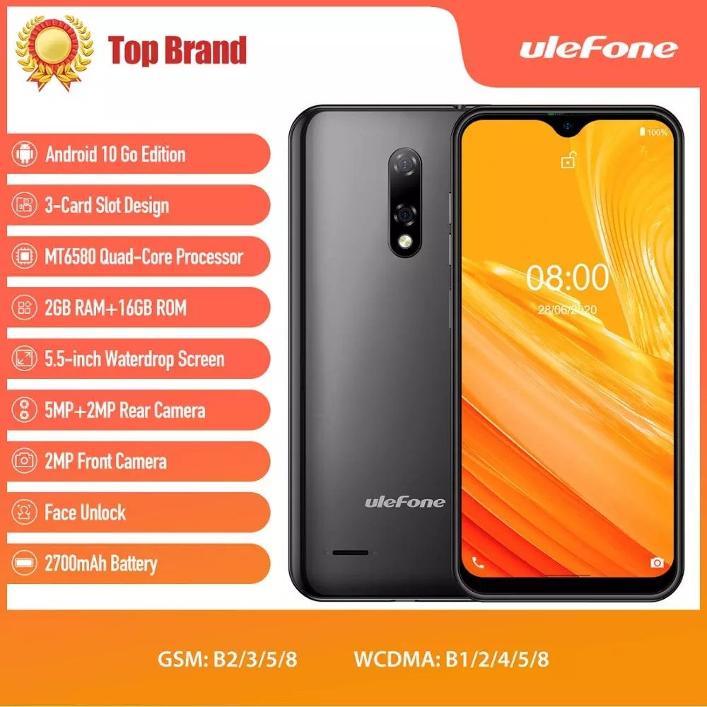 Ulefone Note 8 Smartphone Waterdrop Screen Quad Core 5.5 inch 2GB+16GB Face ID Unlocked Cellphone Android 10 5MP Camera Phone