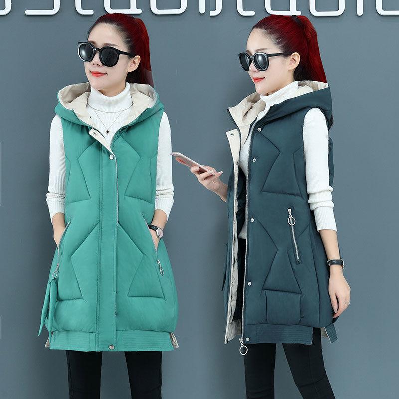Новинка 2021, хлопковый жилет, Женское пальто средней длины, студенческий облегающий женский жилет на осень и зиму