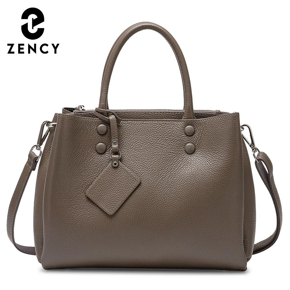 زنسي المرأة حقيبة يد عادية 100% جلد طبيعي موضة رمادي سيدة الكتف حقيبة كروسبودي حقائب مكتبية عالية الجودة الأسود