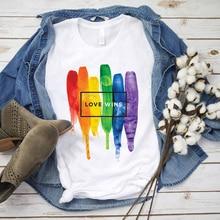 Watercolor LGBT Shirt Love Wins Pride Rainbow Tshirt Typographic Aesthetic Art Summer Top Tees 100% Cotton Material