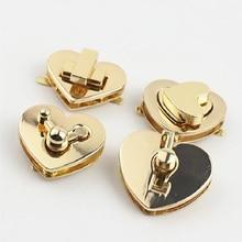 10pcs/lot luggage and handbag hardware accessories golden metal twist lock buckle heart-shaped bag l