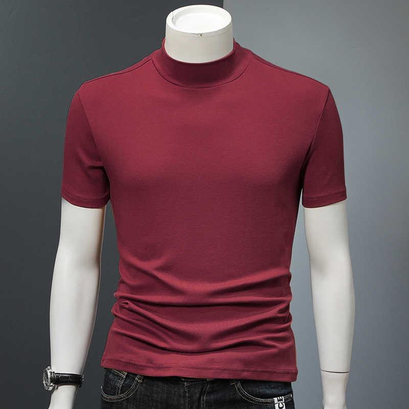 Camiseta Roja Sólida Para Hombre De Algodón Ajustada Cómoda De Verano Para Hombre Camisetas De Alta Calidad Cuello De Cisne Manga Corta Tops Xxll Azul Negro Aliexpress