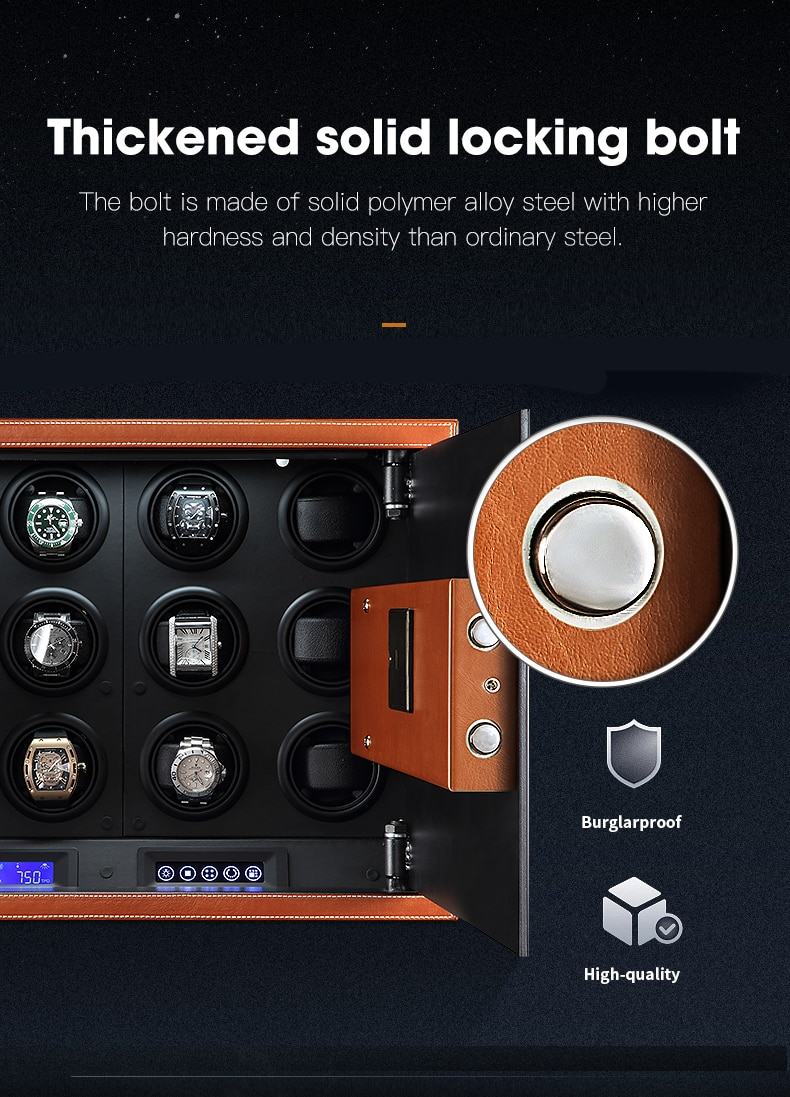 Automatic Watch Winder Safe Box Carbon Fiber Double Watch Winding Box Quiet Motor Storage Display Case Mechanical Watches Boxes enlarge