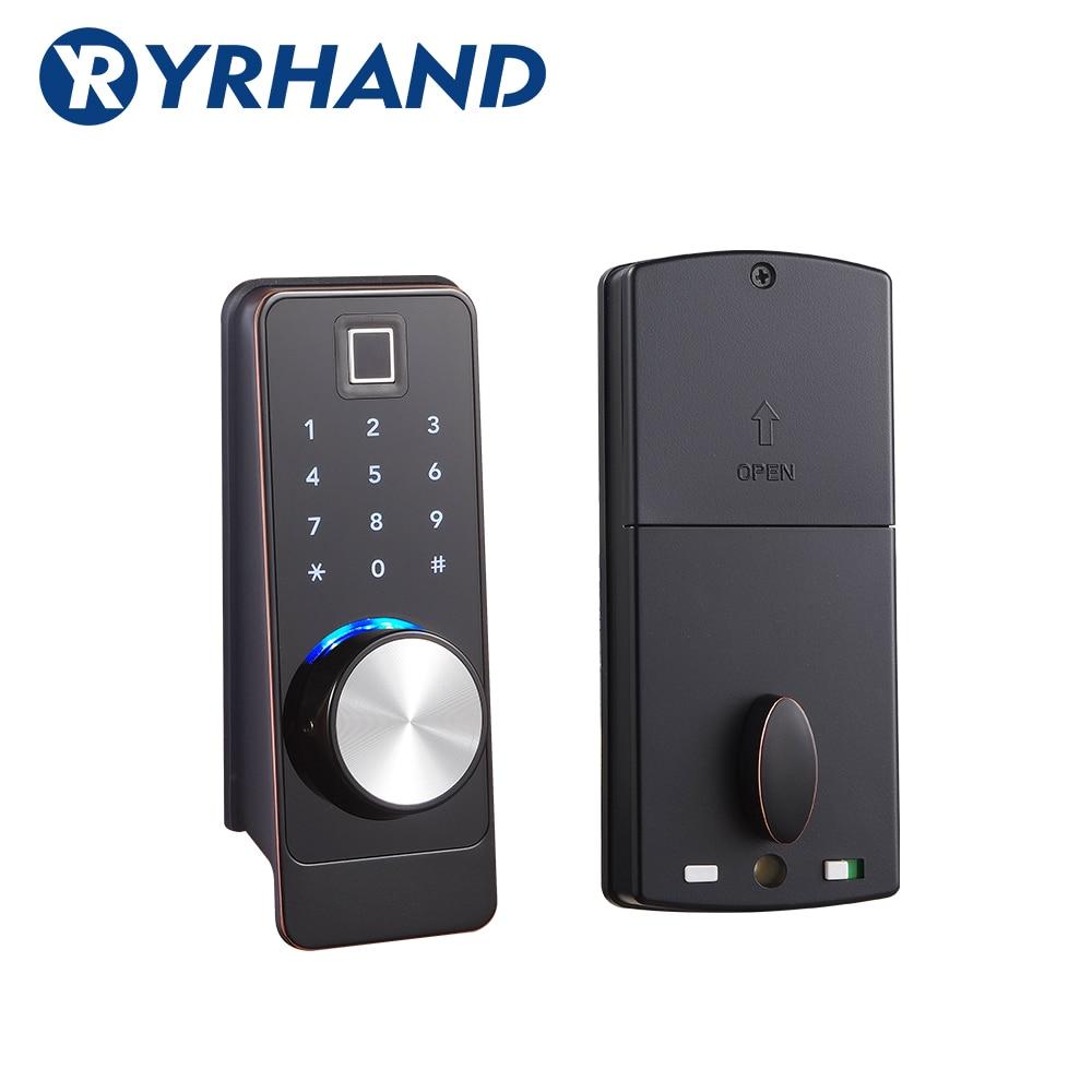 Get TT lock App Smart Fingerprint Door Lock, Electronic Deadbolt Security Safe Bluetooth RFID Keypad Digital Door Lock