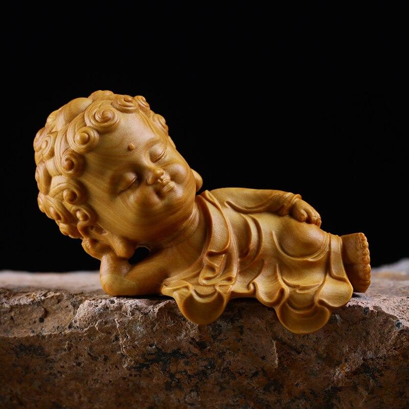 8,8 CM liegen Buddha Statue Buchsbaum Statue Liegen Shakyamuni Kreative Buddha Home Kleine Display Zen Massivholz Carving Geschenke