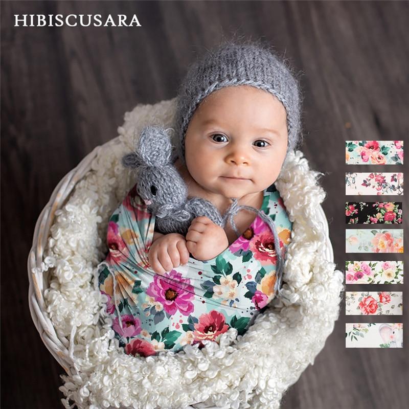الوليد الطفل التصوير يلتف الأزهار قماط صور القماش زهرة نمط الرضع صورة تبادل لاطلاق النار بطانية 80*80 سنتيمتر مع عقال