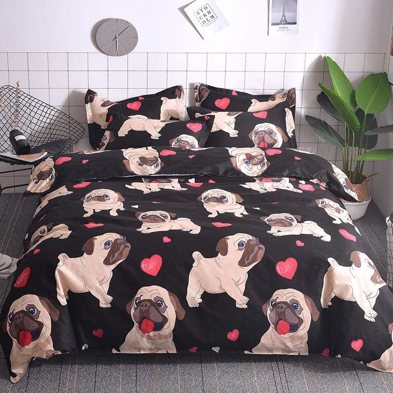 Personalizado Series a la moda ropa de cama conjunto de tres piezas traje de diseño de Bulldog liso de poliéster manualidades de tejido edredón funda de almohada No hojas