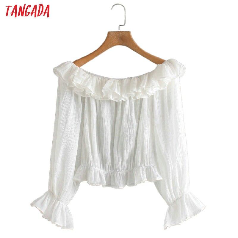 Tangada women ruffle white shirts off shoulder long sleeve solid office ladies beach wear tops  2XN182