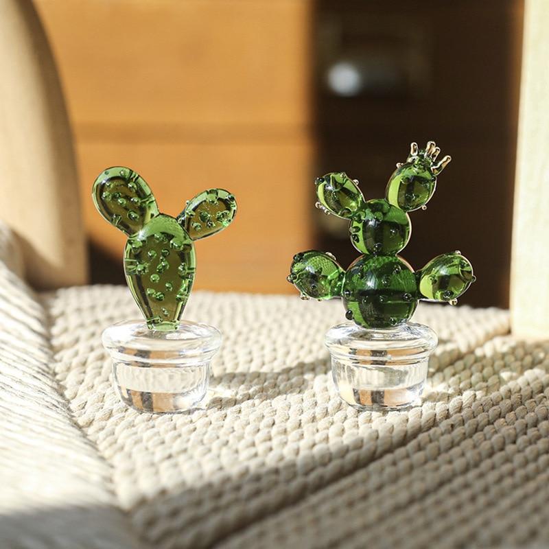 Creative Glass Plant Cactus Desktop Decorations GLASS Cactus Home Table Decorations Living Room Dining Table Decorations
