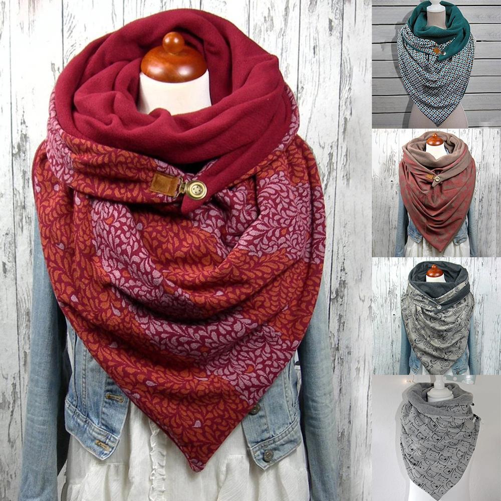 Winter Scarf Shawl Fashion Korean Men Women Hooded Warm Splicing Printing Scarves Wraps Cotton Windproof Comfortable Pashmina